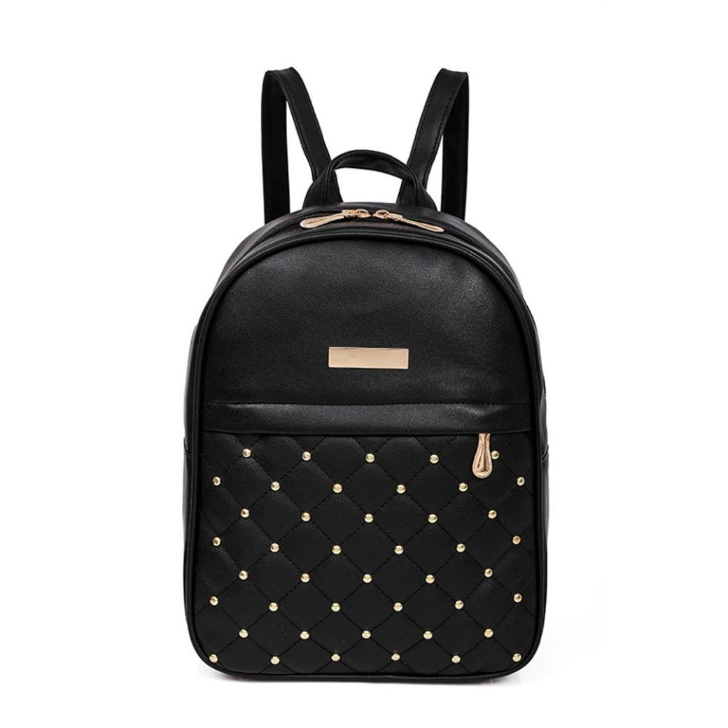 VIASA Women Rivet Backpack Fashion Causal Bags Bead Female Shoulder Bag Backpacks Lightweight Backpack School Bag Travel Daypack Medium Handbag Purse (Black)