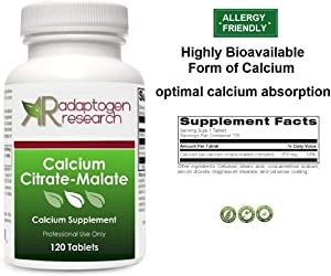Calcium Citrate-Malate | 250 mg High Absorption Hypoallergenic Calcium Complex for Bone & Cardiovascular Support | 120 Tablets | Adaptogen Research