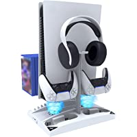 NexiGo Suporte vertical atualizado com ventoinhas de refrigeração para PS5 Disc & Digital Editions, carregador de dois…