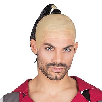 NET TOYS Peluca Samurai | Calva con Trenza | Peluca Manga Hombre | Disfraz Chino Accesorio