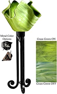 product image for Jezebel Radiance Torch Light. Hardware: Black. Glass: Grass Green, Flame Style