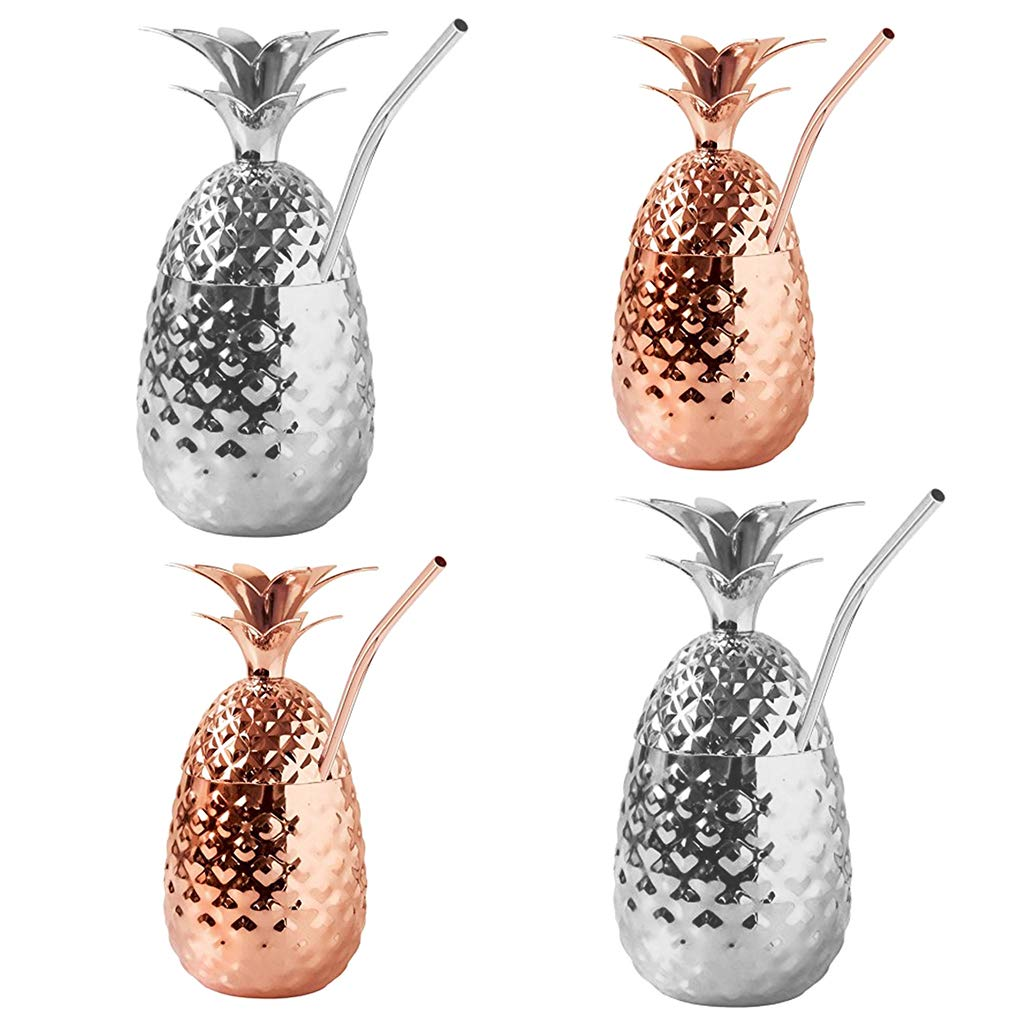 Prettyia 4x Stainless Steel Pineapple Cocktail Tumbler Moscow Mule Mugs with Removable Lid and Drinking Straws, 350ml+500ml