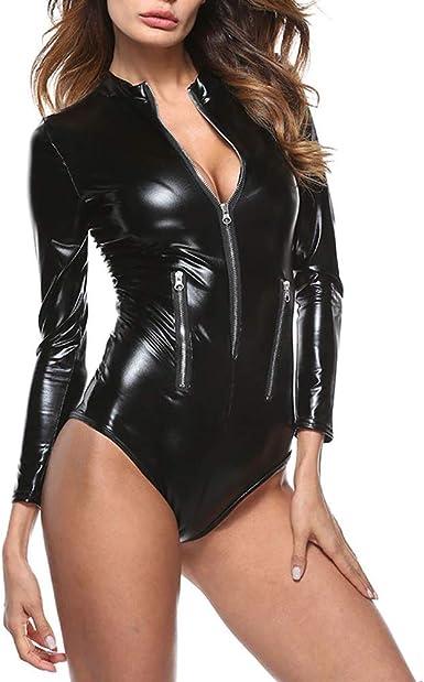 Zipper Front Long Sleeve Women Wet Look Vinyl Catsuit black