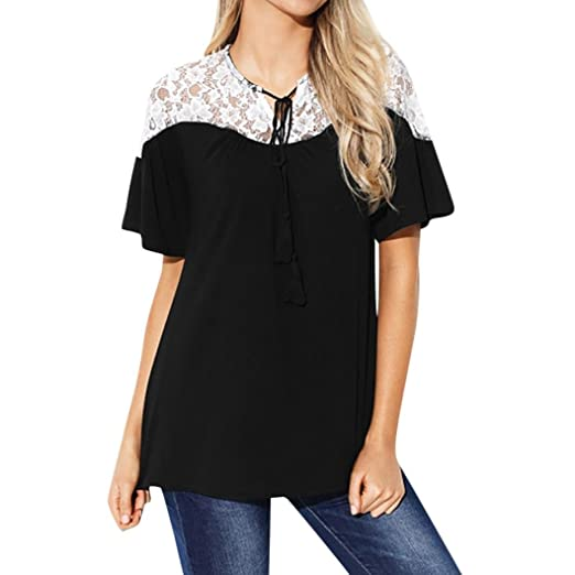 93305aac50f0 Amazon.com  Paymenow Women Girls Lace Patchwork Summer Tassel Flare Sleeve  T Shirts Loose Swing Tops Blouse  Clothing