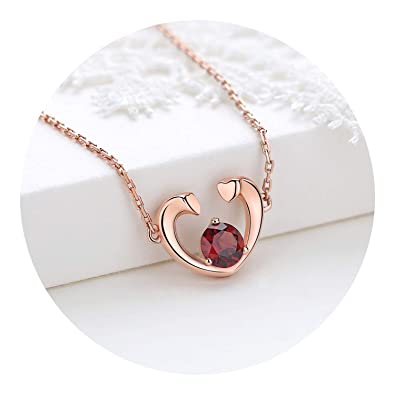 Fashion Jewelry Womens 925 Sterling Silver Necklace Chain Crystal Love Heart Pendant Gift Box
