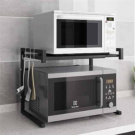 Estante para microondas, estante de cocina extensible, organizador de horno de microondas, 2 niveles con 3 ganchos: Amazon.es: Hogar