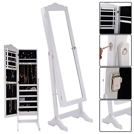 Amazoncom Giantex Lockable Mirrored Jewelry Cabinet Armoire