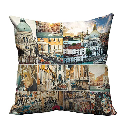 (YouXianHome Print Bed Pillowcases Various Views Venice City Cathedral and Palace Travel Theme Washable and Hypoallergenic(Double-Sided Printing) 24x24 inch)