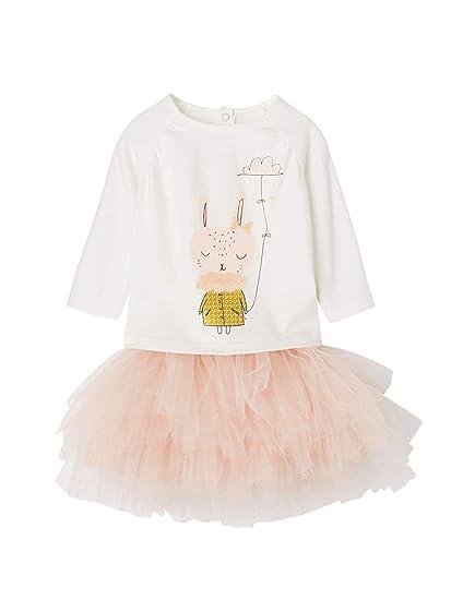 5a088d6c9c578 Vertbaudet Ensemble T-Shirt Sequins et Jupon de fête bébé Fille Ivoire Rose  poudré 3M - 60CM  Amazon.fr  Vêtements et accessoires