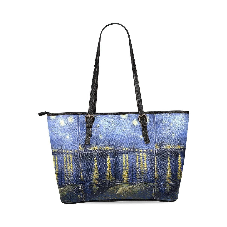 Starry Night Custom PU Leather Large Tote Bag/Handbag/Shoulder Bag for Fashion Women /Girls