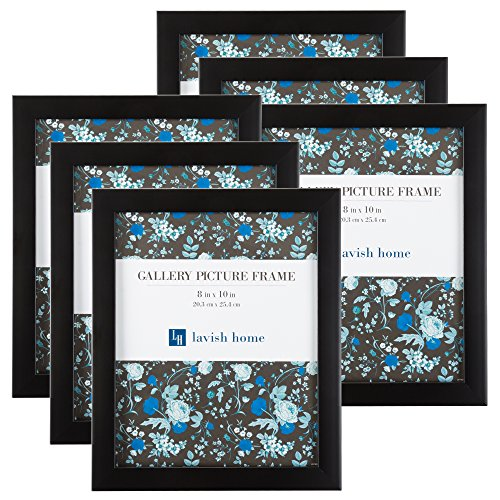 Picture Frame Set, 8x10 Frames Pack For Picture Gallery Wall With Stand and Hanging Hooks, Set of 6 By Lavish Home (Black)]()