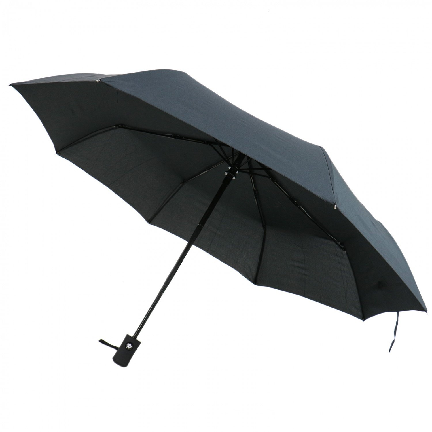 HUELE Travel Automatic Compact Travel Umbrella Windproof Auto Open/Close Folding Strong Windproof Umbrella (Black)