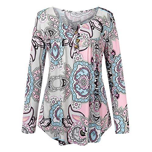 Automne Longues V Blanc bohme en kingwo col Shirt Femme T Manches dcontractes imprim Bouton 5HWBRa