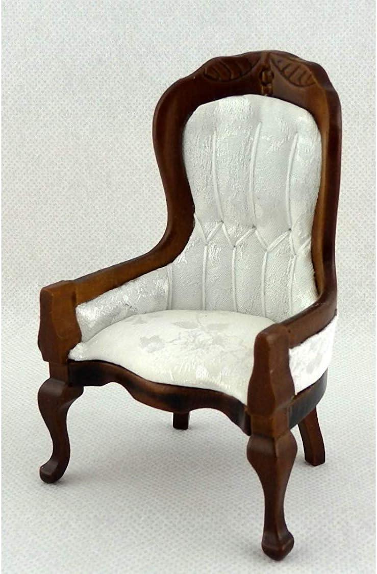 Melody Jane Dolls Houses House Miniature Furniture Victorian White Walnut Gents Salon Chair