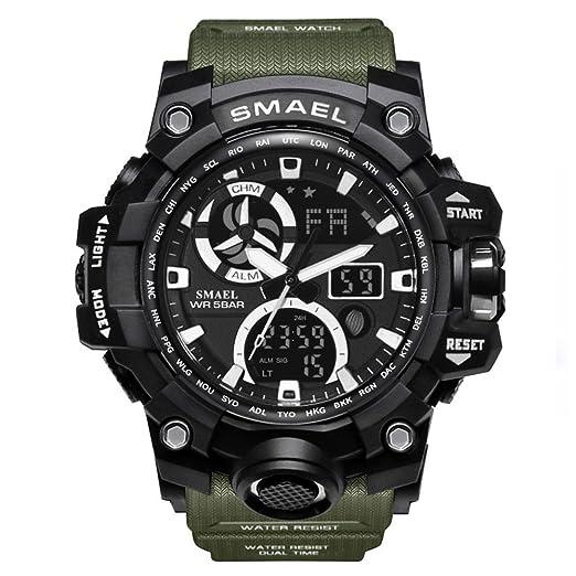 Relojes Militares Verdes para Hombre Relojes Digitales Frescos con Reloj Deportivo Digital de Cara Grande para niños: Amazon.es: Relojes