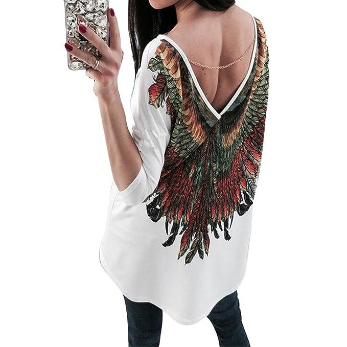 Hibote Mujeres Vintage Blusas Oversize Boho Backless Pullover Sudaderas 3/4 Manga Cuello Redondo Cassual Loose Tops Mini Vestir Primavera Verano Casual ...
