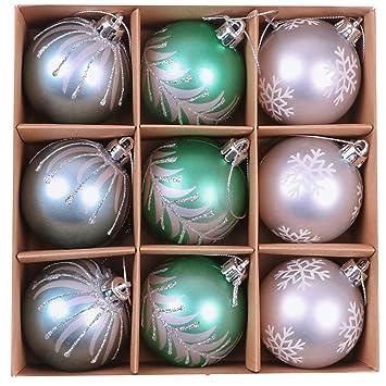 Christbaumkugeln Amazon.Valery Madelyn 9 Stucke 6cm Weihnachtskugeln Kunststoff Blau Grun Silber Christbaumkugeln Mit Aufhanger Weihnachtsbaumschmuck Weihnachten Dekoration