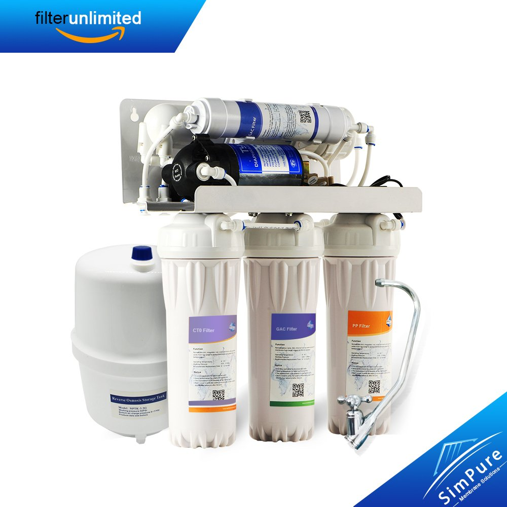 MS ROS01 5-Stage Reverse Osmosis Drinking Water Filtration System,With Pure Booster Pump and Ultimate Water Softener - 50 GPD