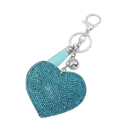 Sharplace Llavero Colgante Anillo Cadena Clave Forma de Corazón Blando Diamantes de Imitación