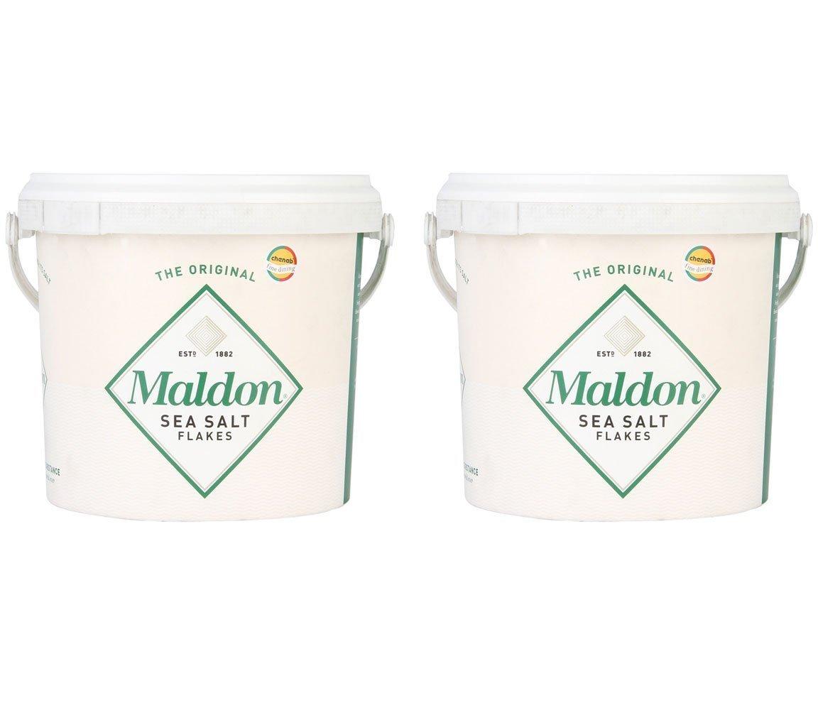 Maldon Sea Salt Flakes 1.5kg/3.3lbs Tub (Pack of 2) by Salt Traders
