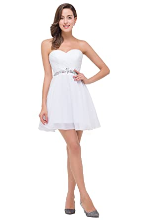 Babyonlinedress Sexy Sweetheart Knee Length White Short Graduation Dresses For 8th Grade,Size 2