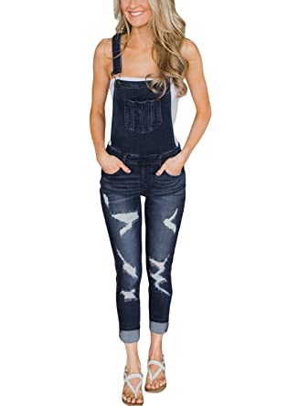 9caad878741 GOSOPIN Women Adjustable Strap Ripped Distressed Original Denim Overalls  Medium Dark Blue