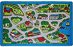 Kids Rug Street Map in Grey 3\' X 5\' Children Area Rug for Playroom & Nursery - Non Skid Gel Backing (39\