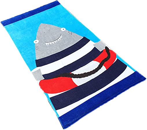 Stillshine Toallas de Playa,Adultos Niños 100% Algodón Estera de Playa Toalla de Deportes Cubierta Natación de Dibujos Animados Surf Viaje Toalla de Playa para Hombre y Mujer 160 * 80cm (Tiburón): Amazon.es: