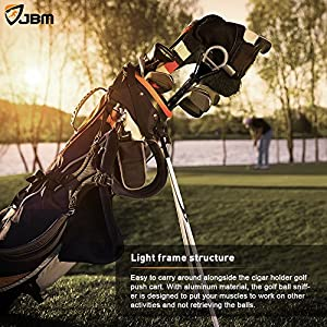 "JBM Golf Ball Retriever Device (6ft Reach, 10' 2'') Automatically Portable Telescopic Golf Ball Pick Up Ball Retriever Scoop Pick Up, 26"" to 78.5"" Retracted Length, Stainless Steel Shaft"