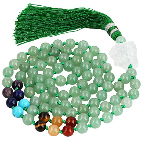 SUNYIK 7 Chakra Stone Buddhist Bracelet,Paryer Beads Necklace Strand for Meditation,Green Aventurine - Natural Green Stone Necklace Heart