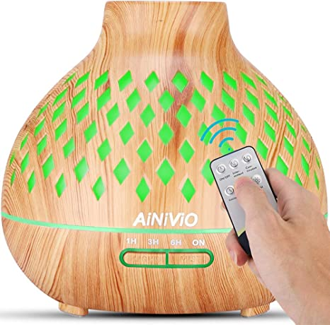 Essential Oil Diffuser, AiNiViO 400ml Aromatherapy Diffusers Ultrasonic Aroma Humidifier with Cool Mist Waterless Auto Shut Off, Remote Control,4