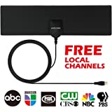 TV Antenna, MIESCHER Indoor Mini TV Antenna, 35 miles Signal Reception for 1080P, VHF and UHF, get Free Local Channels for Smart TV, HDTV and TV - Black
