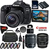 Canon EOS 80D DSLR Camera with 18-55mm Lens 1263C005 (International Version) + Canon EF 24mm f/2.8 IS USM Lens 5345B002 + 128GB Class 10 Memory Card + LP-E6N Lithium-Ion Battery Bundle