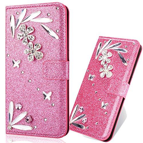 Ledertasche BookStyle Luxus Bling Glitzer Diamant Slim Leder Hülle Schutzhülle Scratch Bumper Flip Folio Wallet Stand Case Card Slots Pocket Shell Magnetverschluß Etui Case für Samsung S9 6City8Ni