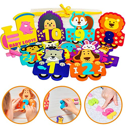 Foam Bath Toys Numbers Animals - Best Baby Bath Toy for Toddlers Kids Girls Boys - Bath Numbers Toy Set of 27pcs - Preschool Educational Floating Bathtub Toys - Bath Toy Storage Mesh Bag