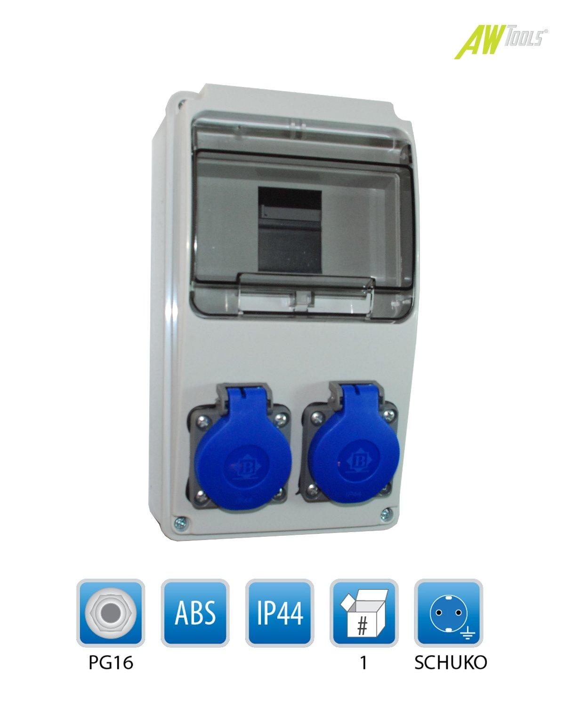 Baustromverteiler / Wandverteiler 2 x Schuko 230V/16A verdrahtet F-ELEKTRO