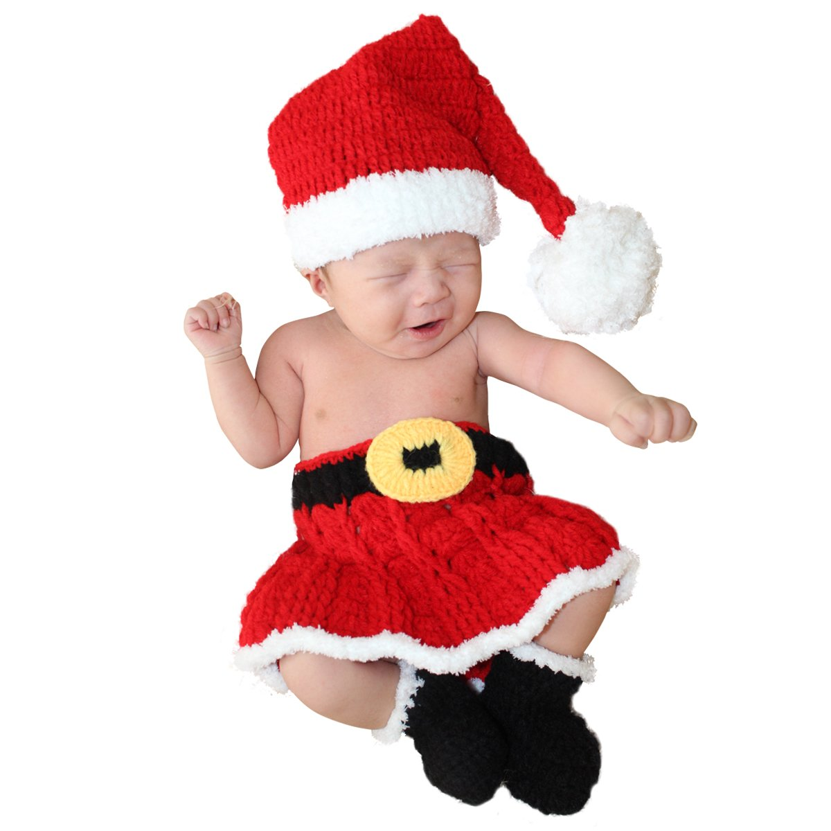 a80b61f1a34 Amazon.com  Jastore Infant Newborn Costume Photography Prop Santa Claus  Crochet Knitted (Style 1)  Clothing