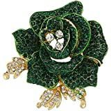 EVER FAITH Women's Austrian Crystal Blooming Beautiful Rose Flower Brooch Peridot-Color Gold-Tone