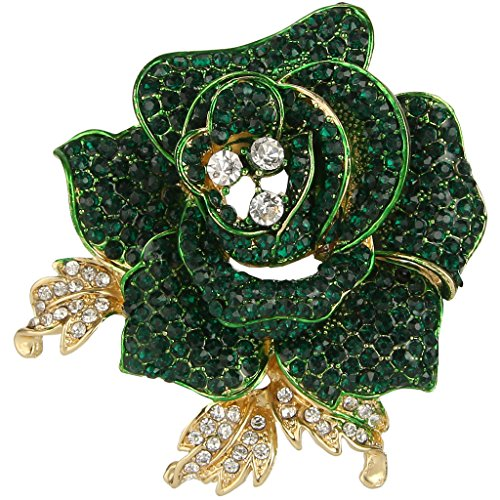 (EVER FAITH Women's Austrian Crystal Blooming Beautiful Rose Flower Brooch Peridot-Color Gold-Tone )