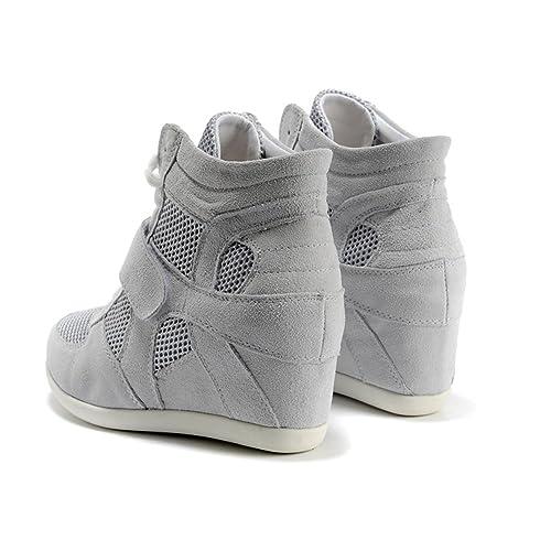 Rismart Mujer Zapatos Formal Oculto Tacón Cuña Gamuza Tela Zapatillas (Negro,EU37)