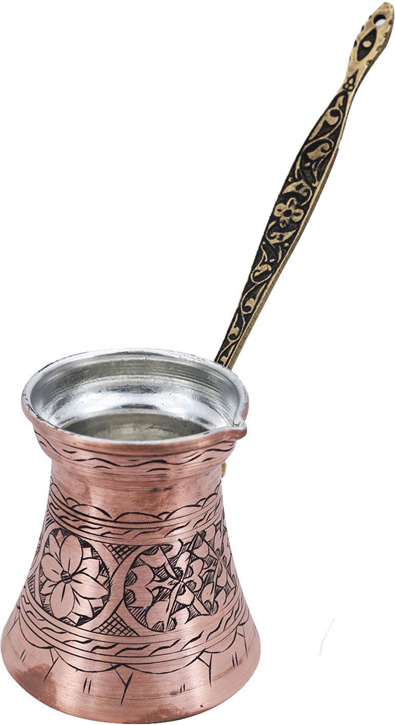 CP-106 Stovetop Coffee Maker Cezve Ibrik Briki with Brass Handle -17 fl Oz Handcraftideas/%100 Hand Made Engraved Sturdy Copper Turkish Greek Arabic Armenian Coffee Pot 500ml -
