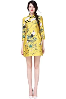 bb4546592 Tuliplazza Women's Crane Embroidery A-Line Tunic Cocktail Party Prom Short  Dress