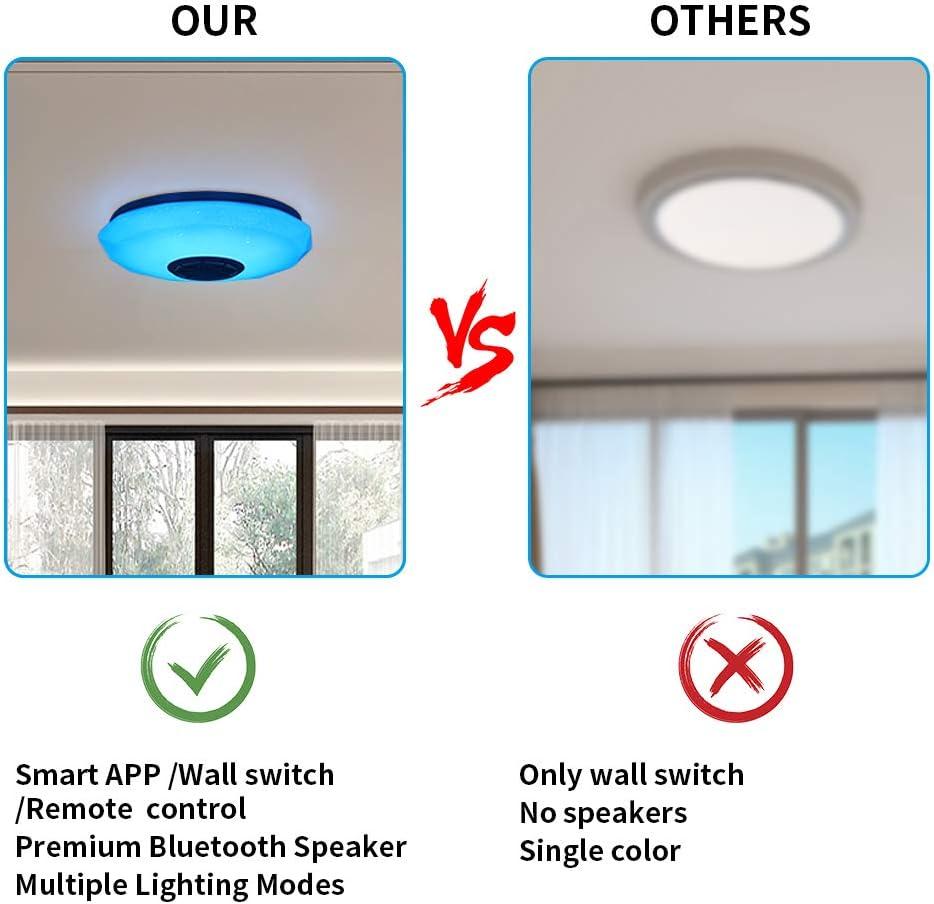 ACELEY Luz de techo aplicaci/ón inteligente M/úsica Iluminaci/ón de luz de techo con altavoz Bluetooth y control remoto L/úmenes Cambio de color y l/ámpara de techo regulable de montaje empotrado