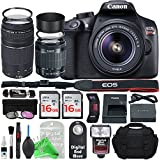Canon EOS Rebel T6 Digital SLR Camera with 18-55mm EF-S f/3.5-5.6 IS II Lens & EF 75-300mm f/4-5.6 III Lens + Essential Silver Bundle
