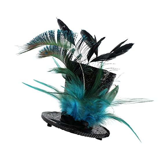 883f4ba2167 Street27 Women Girls Fashionable Cocktail Stag Night Party Charms Vintage  Flapper Feather Charms Top Hat With Sequin Decor Lake Blue  Amazon.in   Clothing   ...