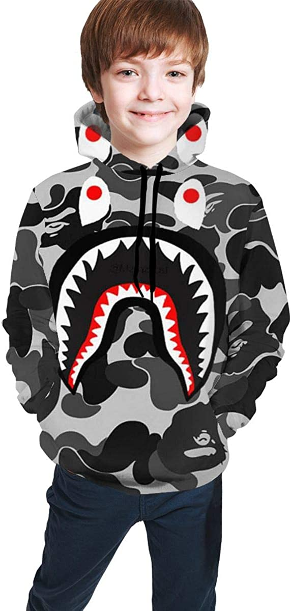 Youth Hoodie Bape Blood Shark Boys and Girls Print Sweatshirt
