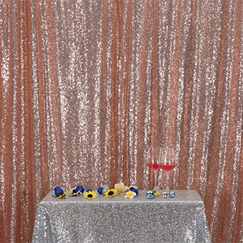 Eternal Beauty Champagne Blush Sequin Wedding Backdrop Photography Background Party Curtain, 5Ft X 6Ft
