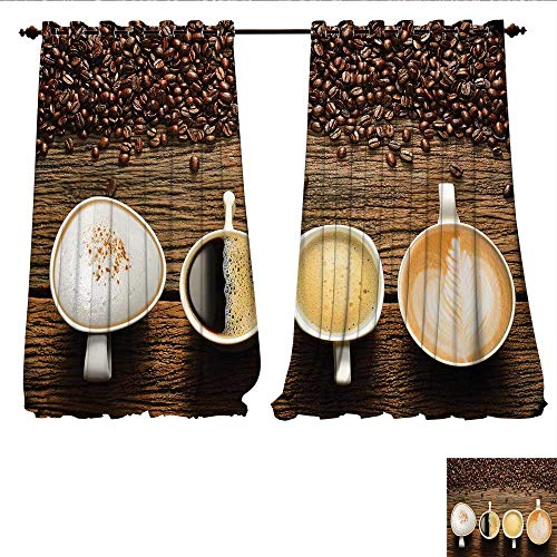 Candle Coffee Blend Mini Cup - WilliamsDecor Room Darkening Wide Curtains Assortment of Coffee Cups with Beans on Wooden Table Americano Cappuccino Mug Customized Curtains W108 x L108 Brown White