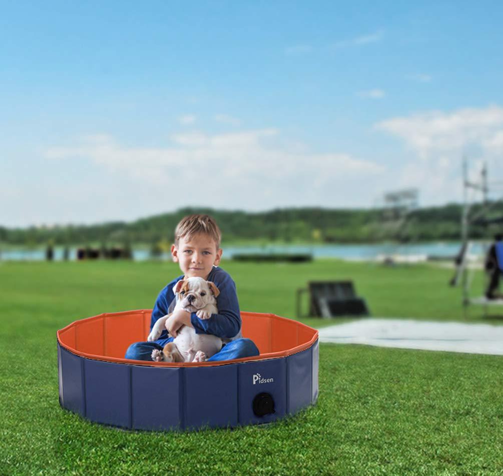 orange 47.2\ orange 47.2\ Pidsen Foldable Dog Pet Bath Pool Pet Swimming Tub Collapsible Dog Pet Tub for Dogs, Cats or Kids (47.2 47.2 11.8 , orange)