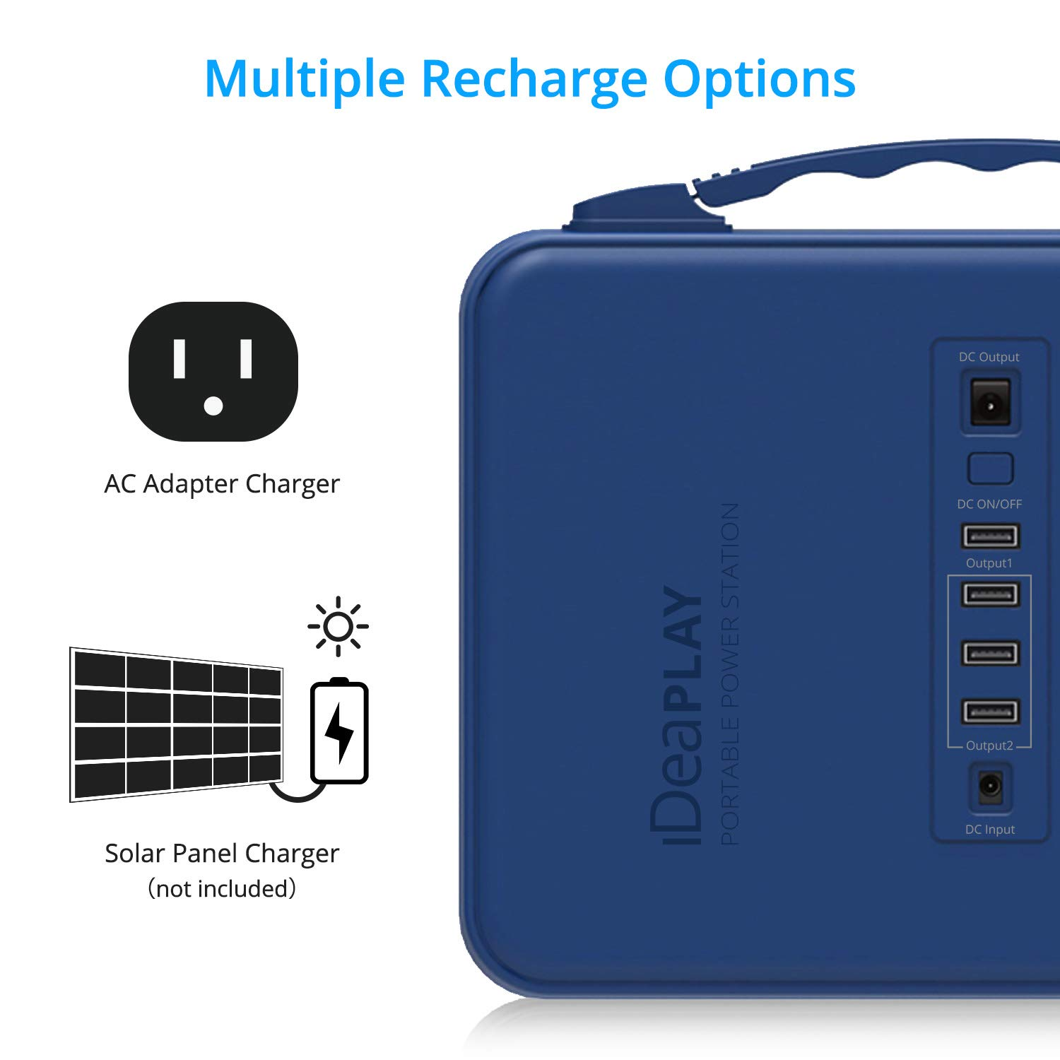 IDEAPLAY Portable Power Station Generator 150Wh, Rechargeable Emergency Backup Lithium Battery with 110V/200W AC Outlet, 12V DC Output, USB Ports, LED Flashlight, for Home Travel Camping Outdoors by IDEAPLAY (Image #3)